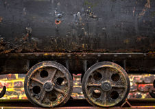 Wheels of a mine cart Royalty Free Stock Image