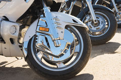 Wheels of motor bikes Stock Photo