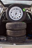 Wheels. New car wheels in the trunk Royalty Free Stock Image