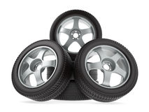 Wheels with new tires on white background Royalty Free Stock Images