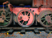 Free Wheels Of A Vintage Steam Engine In Red Royalty Free Stock Images - 96539429