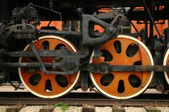 Wheels of the old locomotive Stock Photos