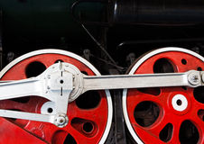 Wheels  of the old locomotive on an rail Stock Images