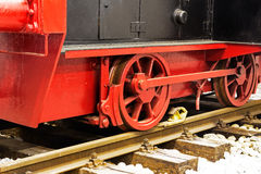 Wheels  of old locomotive on the rails Royalty Free Stock Photography