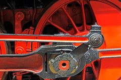 Wheels  of an old locomotive on the rails Royalty Free Stock Photo