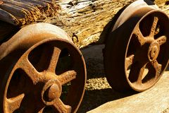 Wheels of old mine cart Stock Images
