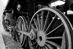 Wheels of an old steam locomotive Royalty Free Stock Images