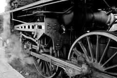 Wheels of an old steam locomotive Royalty Free Stock Photo