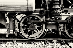 The wheels of the old steam locomotive Stock Photos