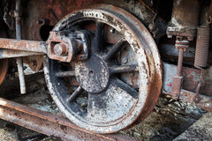 Wheels of old steam locomotive Stock Images