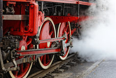 Wheels of an old steam locomotive Stock Images