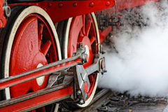 Wheels of an old steam locomotive Stock Photo