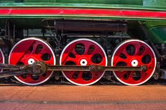 Wheels of an old steam locomotive close up. Royalty Free Stock Photography