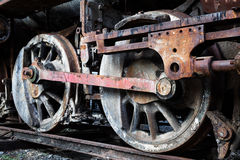 Wheels of old steam locomotive Royalty Free Stock Photos