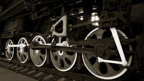 Wheels of an old steam locomotive. Royalty Free Stock Photo