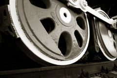 Wheels of an old steam locomotive. Royalty Free Stock Photography