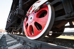 Wheels of an old steam locomotive. Stock Images
