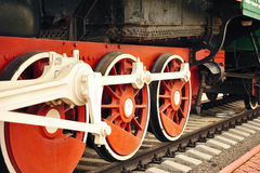 Wheels of an old steam locomotive . Stock Photo