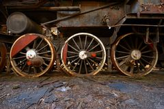 Wheels of an old train Stock Photo