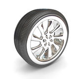Wheels Over White Background. Stock Photos