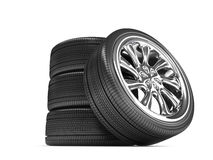 Wheels Over White Background. Royalty Free Stock Photography