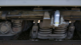 The wheels of a passenger train.  stock video footage