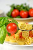 Wheels of pasta with fresh tomatoes Royalty Free Stock Photography