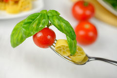 Wheels of pasta with fresh tomatoes Royalty Free Stock Photos