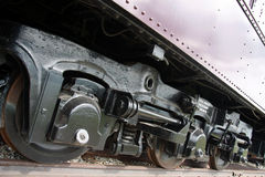 Wheels on railroad carriage Royalty Free Stock Photo