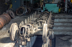 The wheels on the rails of the tramway for repairs in the garage at the depot in Lviv Royalty Free Stock Image