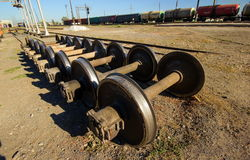 Wheels for railway wagons. Royalty Free Stock Image
