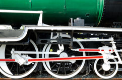 Wheels of restored steam train locomotive Stock Photo