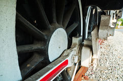 Wheels of restored steam train locomotive Royalty Free Stock Images