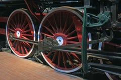 Wheels of a retro locomotive. Railway wheels retro steam locomotive on rails Royalty Free Stock Photo
