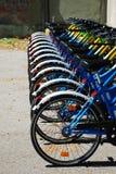 Wheels on Row of Bikes Royalty Free Stock Photos