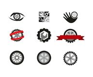 Wheels. Set of graphic elements for logo design with wheels and tools royalty free illustration