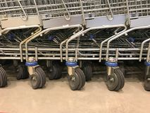 Wheels of shopping cart Royalty Free Stock Image