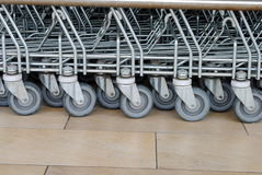Wheels of shopping  trolleys Royalty Free Stock Images