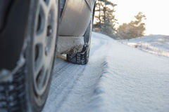 Wheels on snow road Royalty Free Stock Images