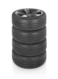 Wheels stack. Car wheels isolated on white Royalty Free Stock Image