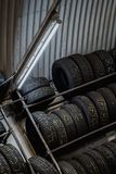 Wheels stacked in a Garage Stock Image