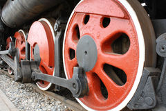 Wheels of steam engine Stock Photos