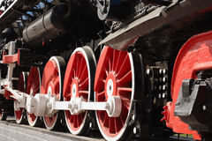 Wheels of a steam locomotive. Wheels of a old steam locomotive Stock Photo