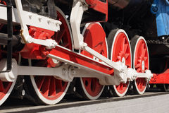 Wheels of a steam locomotive Royalty Free Stock Photo