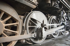Wheels of steam locomotive Stock Image