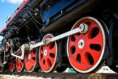 Wheels of steam locomotive Stock Images
