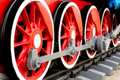 Wheels of Steam Locomotive Stock Photo
