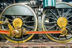 Wheels of steam locomotive close up Royalty Free Stock Photos