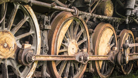 Wheels of steam locomotive. Out of work old rusty steam machine Royalty Free Stock Photos