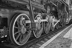 Wheels of steam locomotive Stock Photos